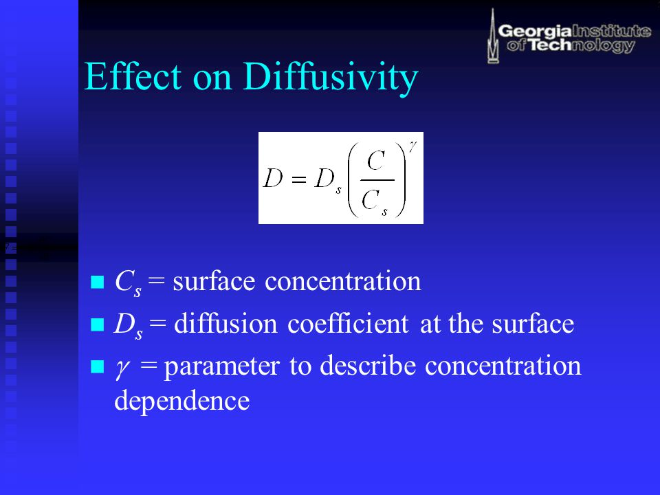 Effect on Diffusivity Cs = surface concentration