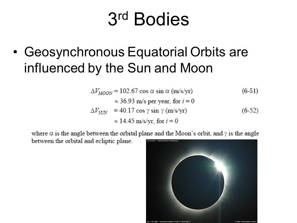 3rd Bodies Geosynchronous Equatorial Orbits are influenced by the Sun and Moon