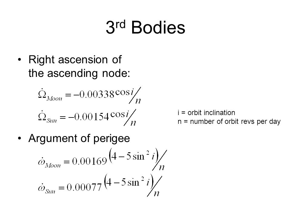 3rd Bodies Right ascension of the ascending node: Argument of perigee