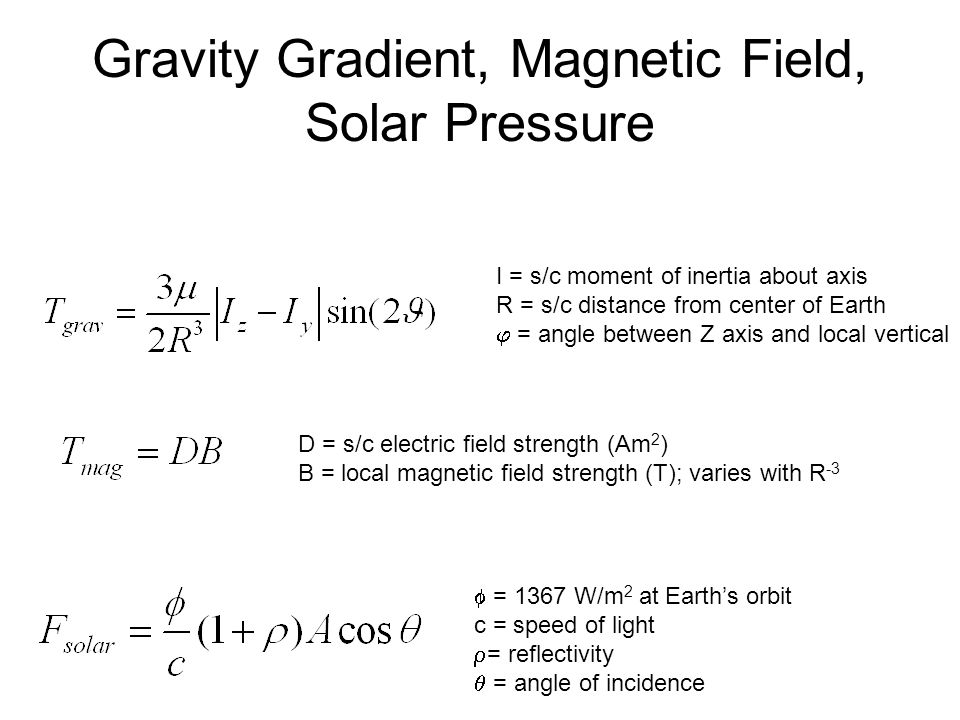 Gravity Gradient, Magnetic Field, Solar Pressure