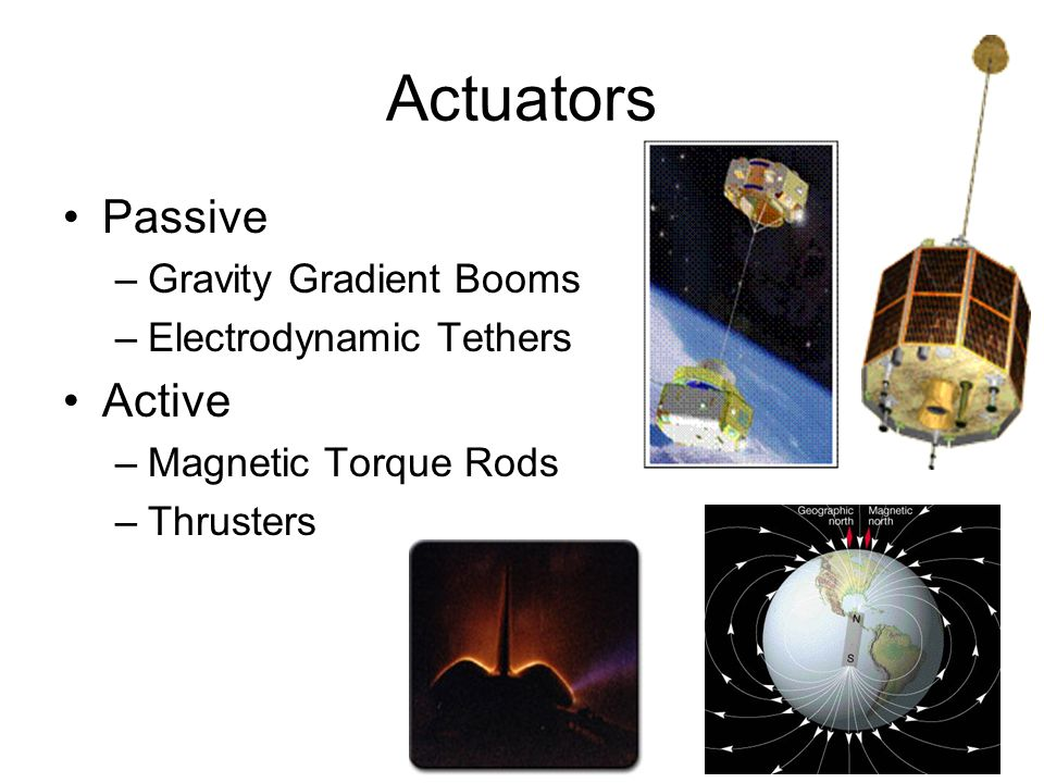 Actuators Passive Active Gravity Gradient Booms Electrodynamic Tethers