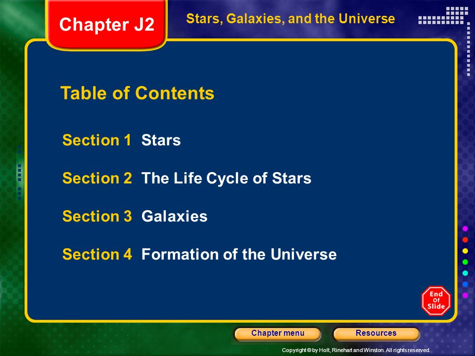 Chapter J2 Table of Contents Section 1 Stars