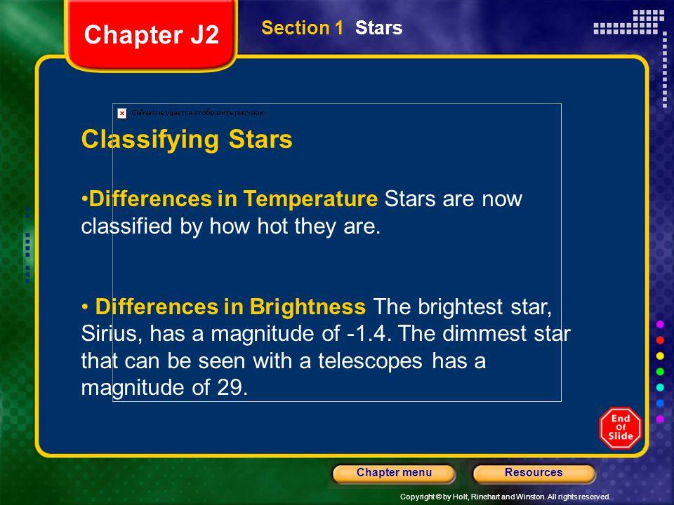 Chapter J2 Classifying Stars