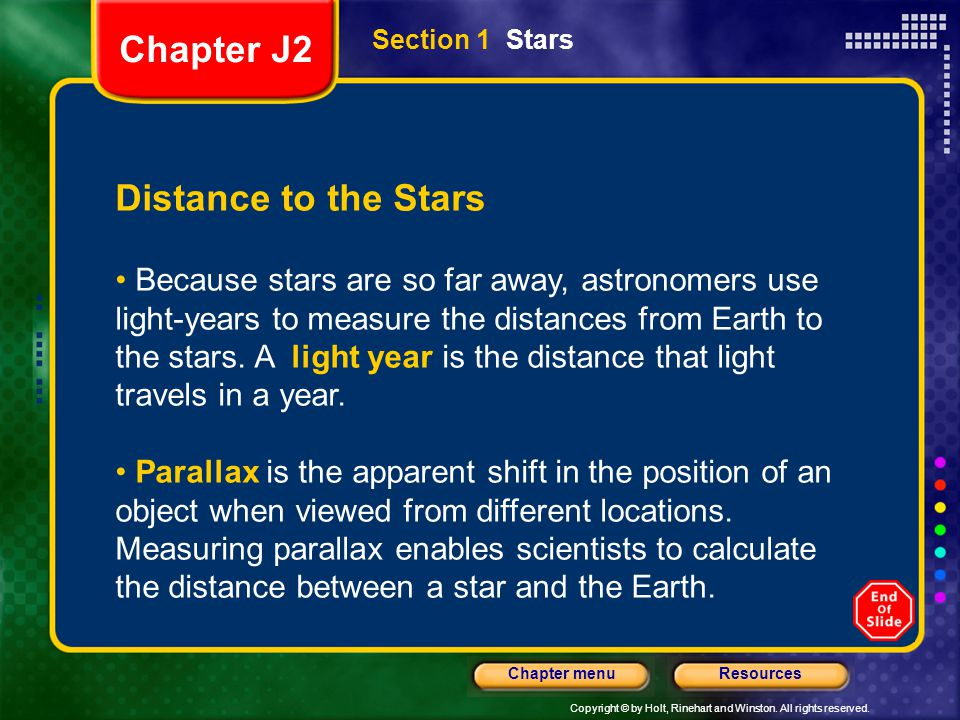 Chapter J2 Distance to the Stars