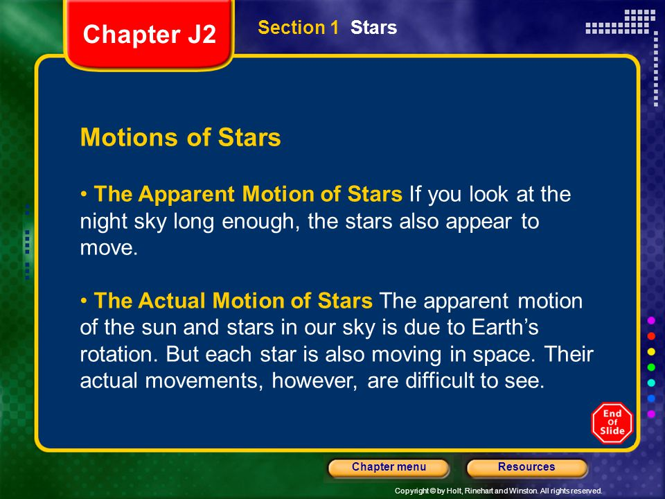 Chapter J2 Motions of Stars