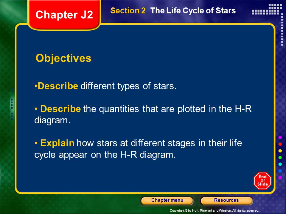Chapter J2 Objectives Describe different types of stars.