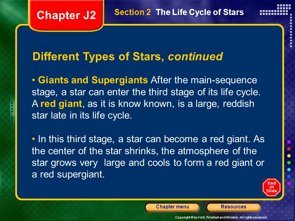 Different Types of Stars, continued