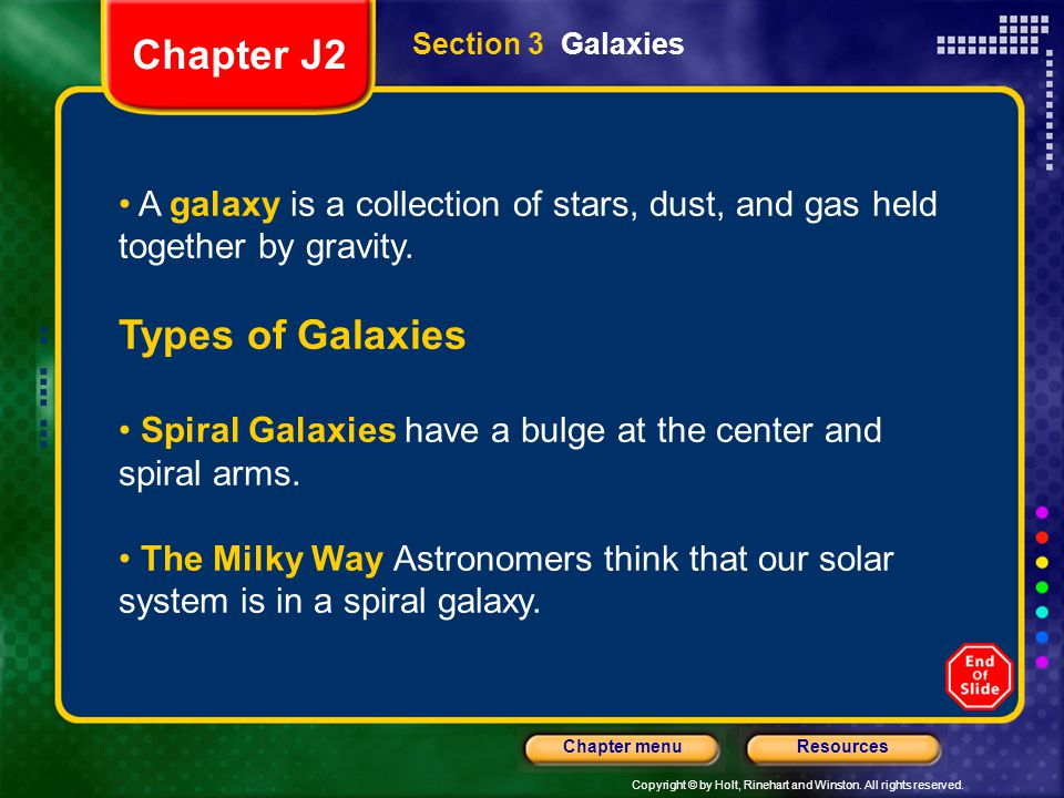 Chapter J2 Types of Galaxies