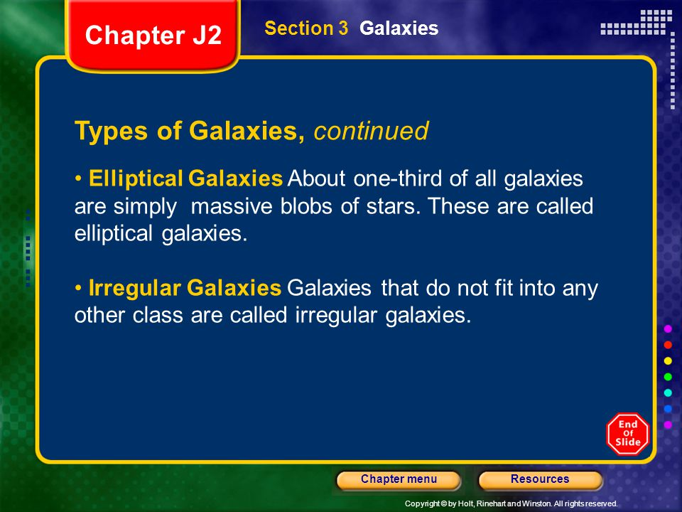 Types of Galaxies, continued
