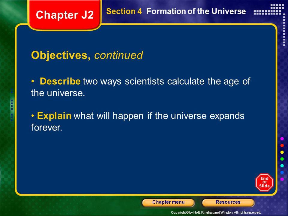 Chapter J2 Objectives, continued