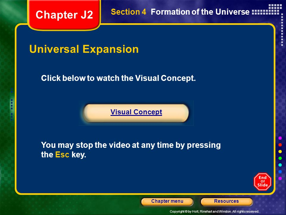 Chapter J2 Universal Expansion Section 4 Formation of the Universe