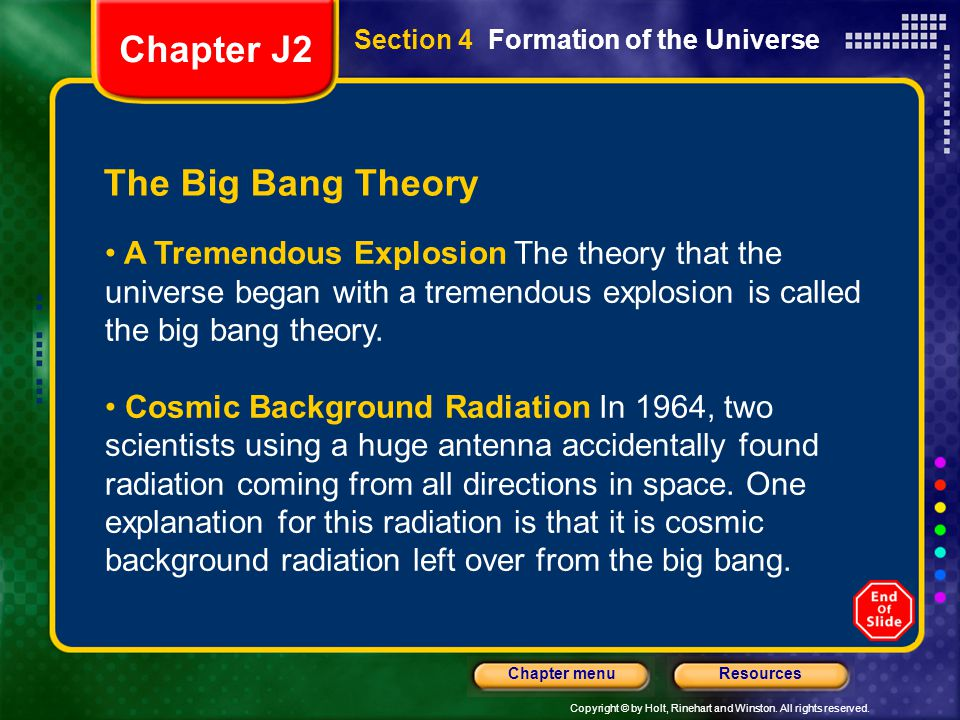 Chapter J2 The Big Bang Theory