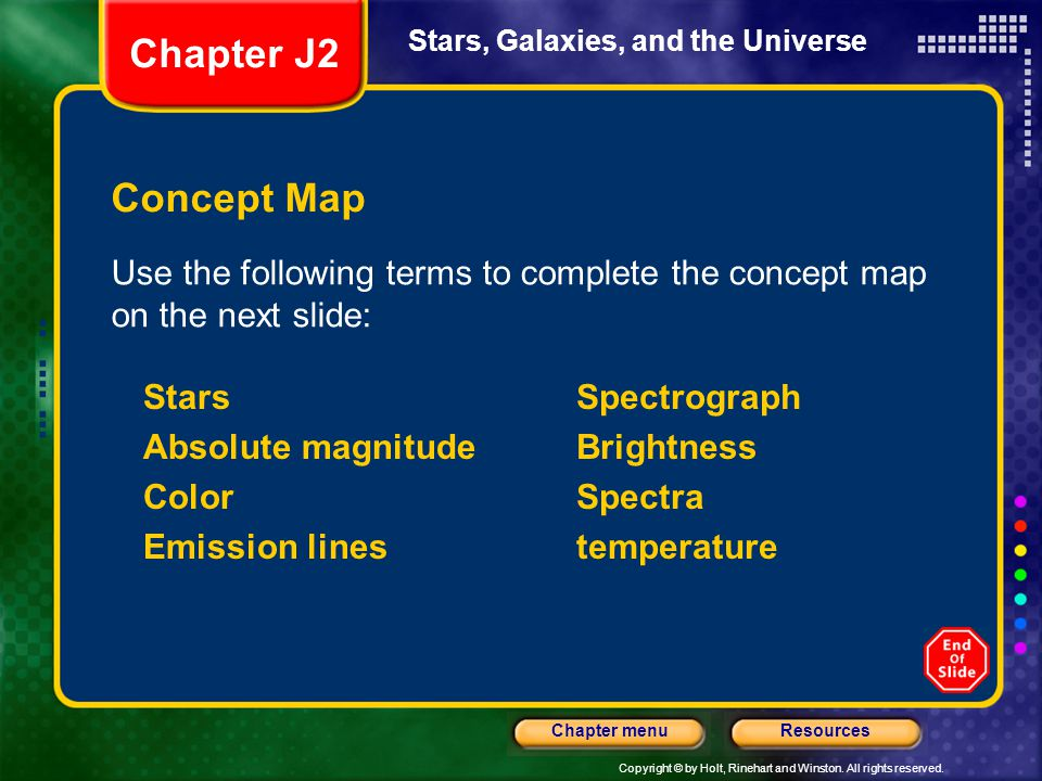Chapter J2 Stars, Galaxies, and the Universe. Concept Map. Use the following terms to complete the concept map on the next slide: