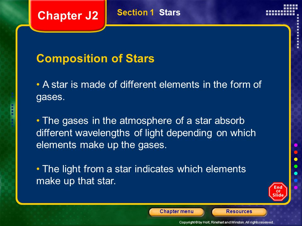 Chapter J2 Composition of Stars