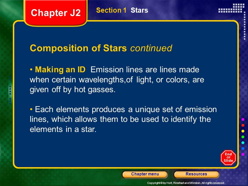 Composition of Stars continued