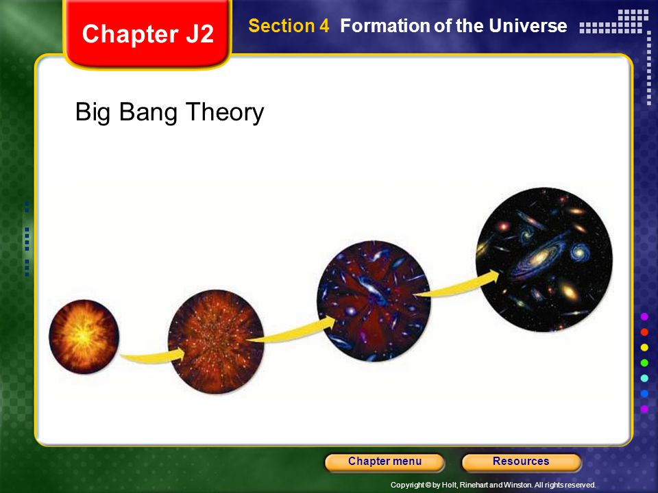 Chapter J2 Section 4 Formation of the Universe Big Bang Theory