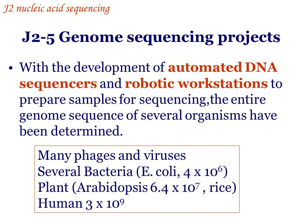 J2-5 Genome sequencing projects