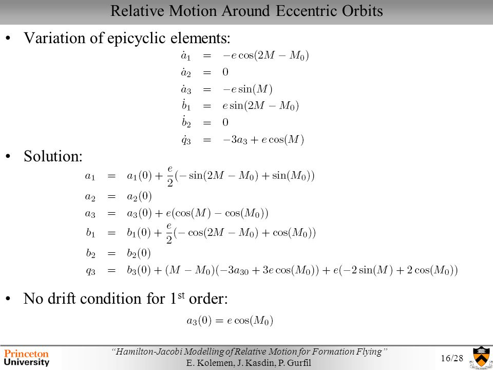 Relative Motion Around Eccentric Orbits