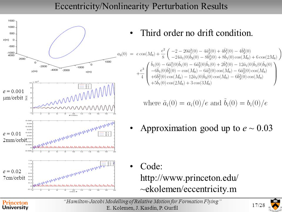 Eccentricity/Nonlinearity Perturbation Results