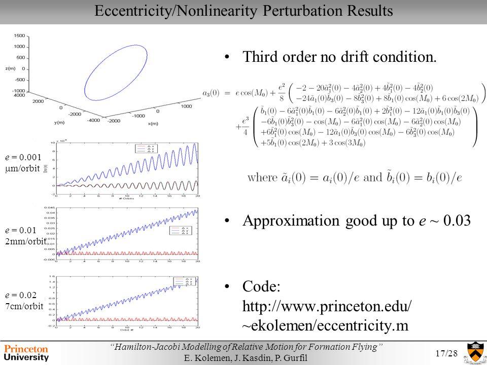 Eccentricity/Nonlinearity Perturbation Results