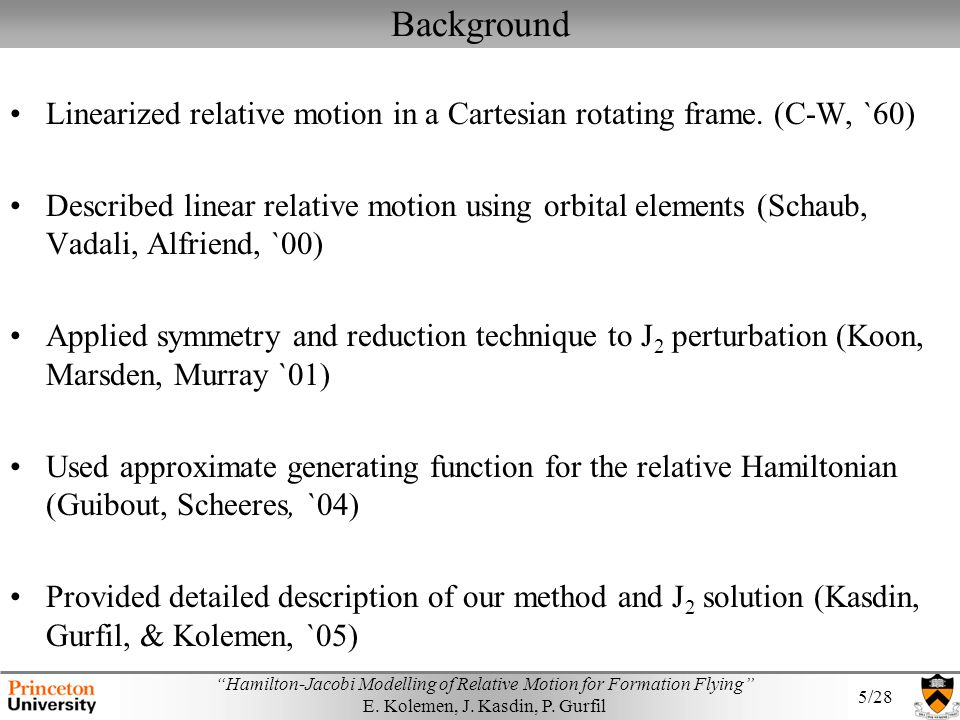 Background Linearized relative motion in a Cartesian rotating frame. (C-W, `60)