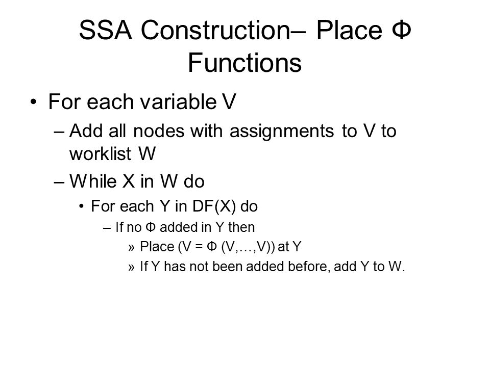 SSA Construction– Place Ф Functions
