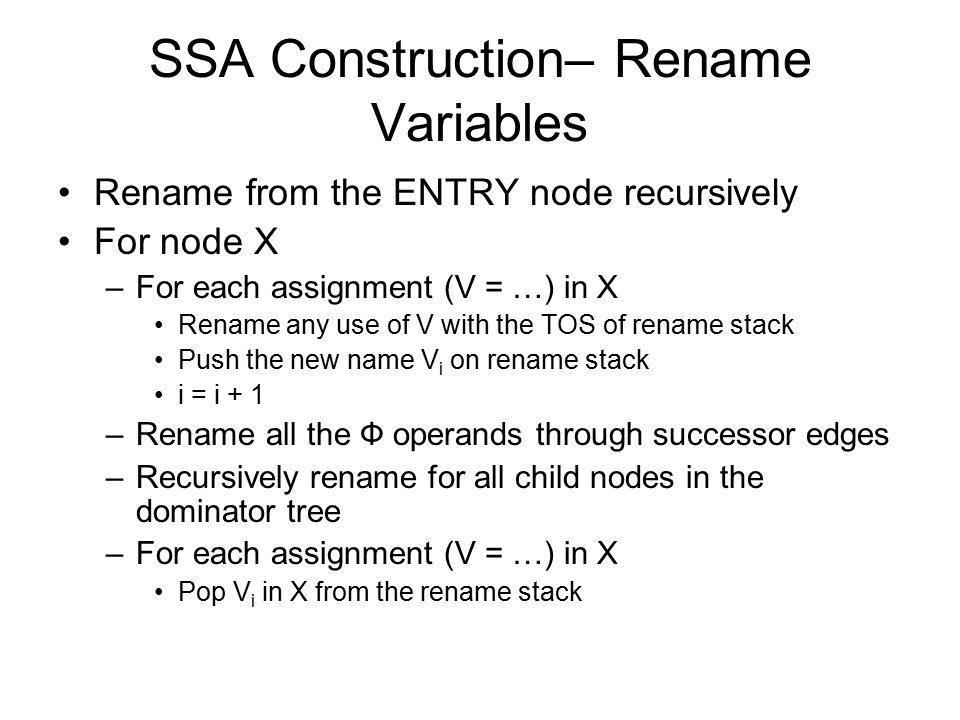 SSA Construction– Rename Variables