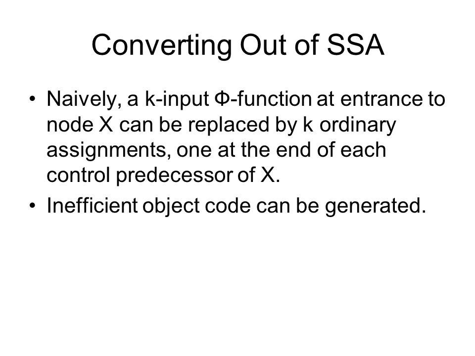 Converting Out of SSA