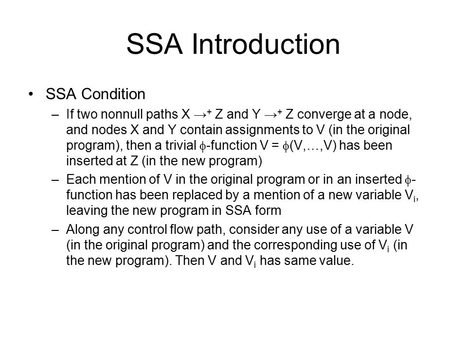 SSA Introduction SSA Condition