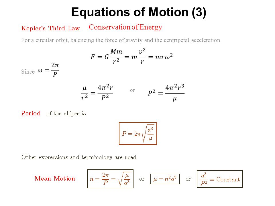 Equations of Motion (3) Conservation of Energy
