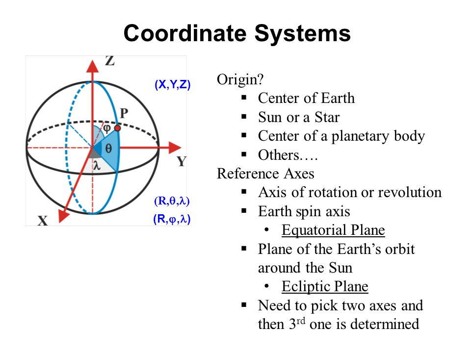 Coordinate Systems Origin Center of Earth Sun or a Star