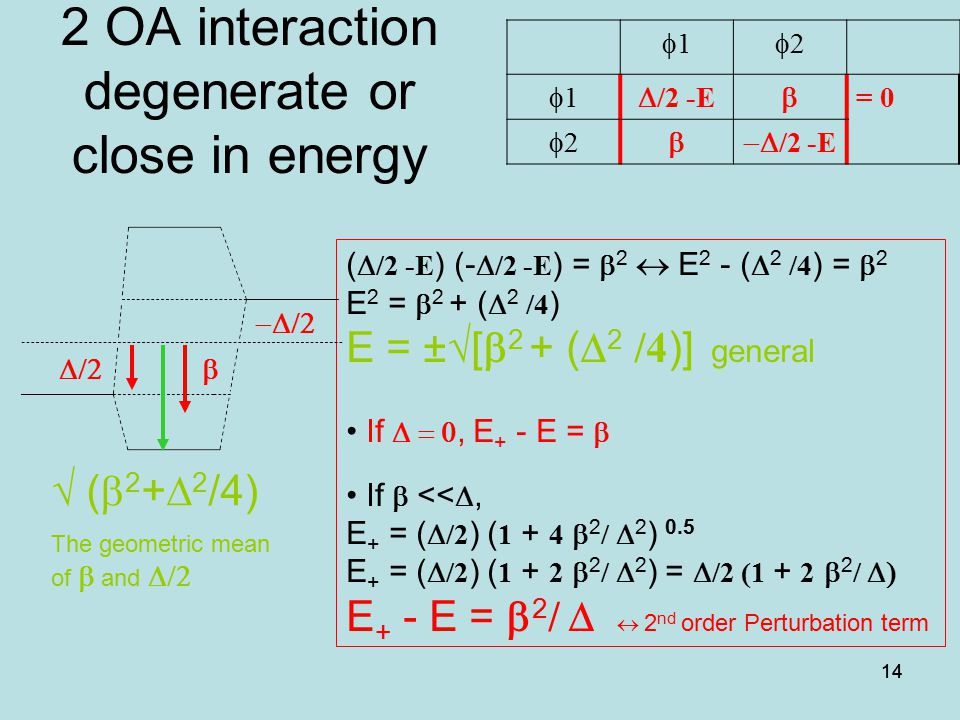 2 OA interaction degenerate or close in energy