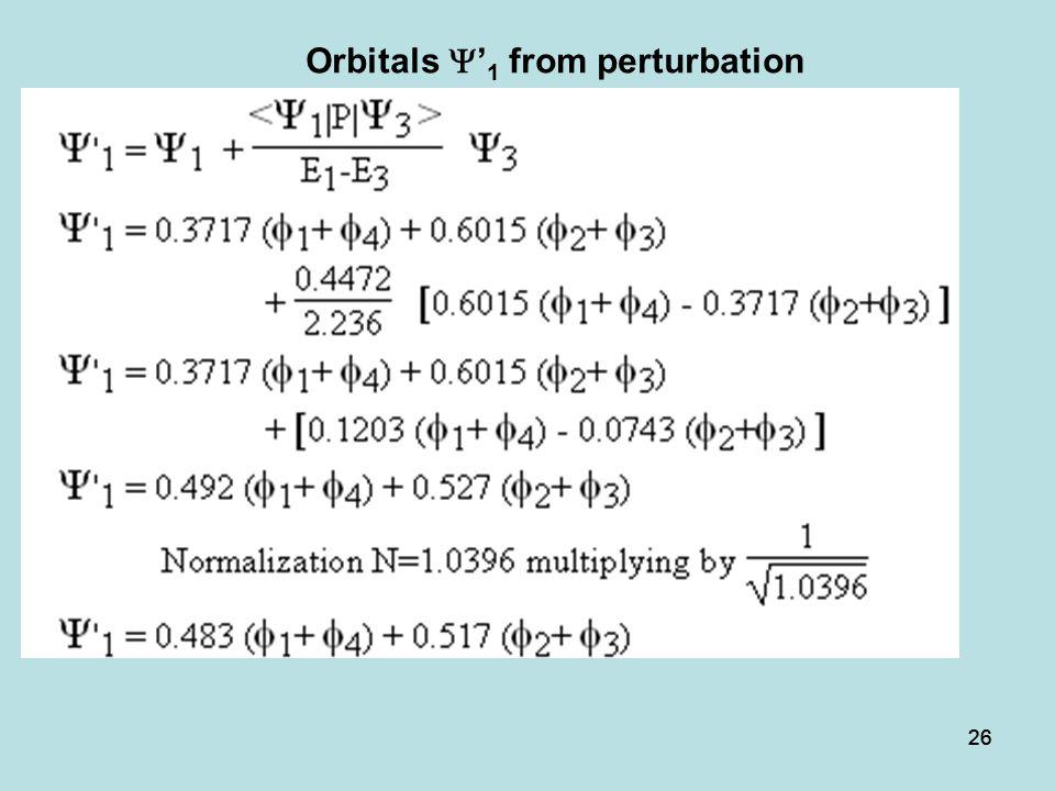 Orbitals Y'1 from perturbation
