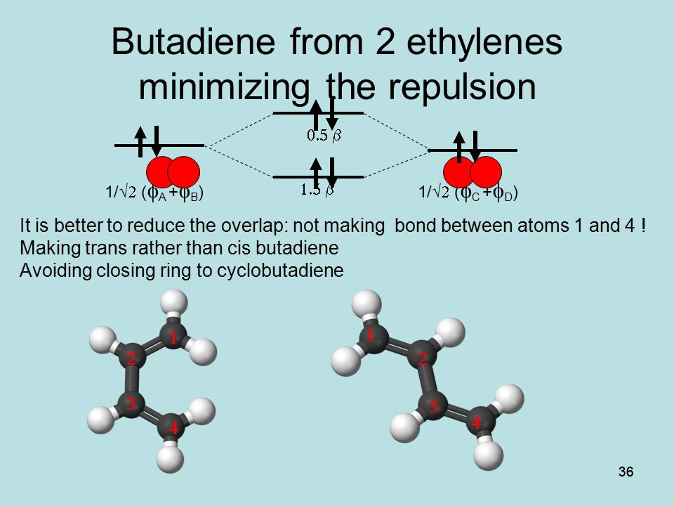 Butadiene from 2 ethylenes minimizing the repulsion