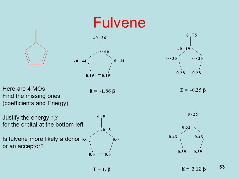 Fulvene Here are 4 MOs Find the missing ones (coefficients and Energy)