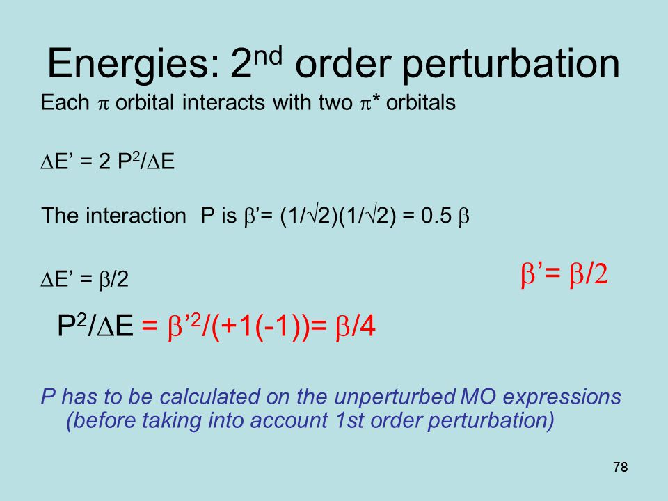 Energies: 2nd order perturbation