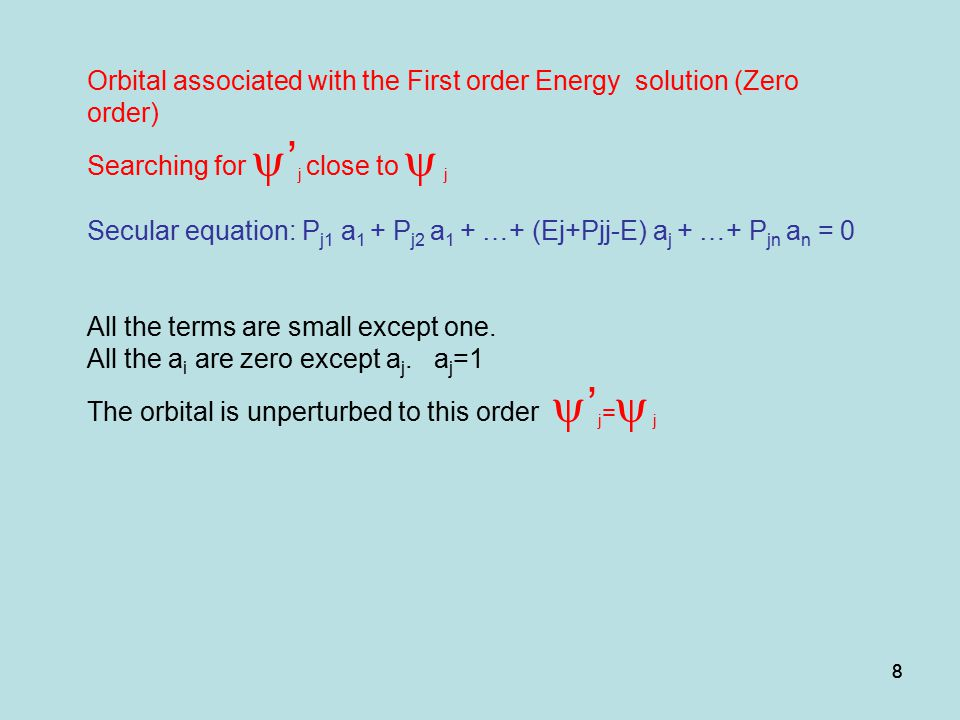 Orbital associated with the First order Energy solution (Zero order)