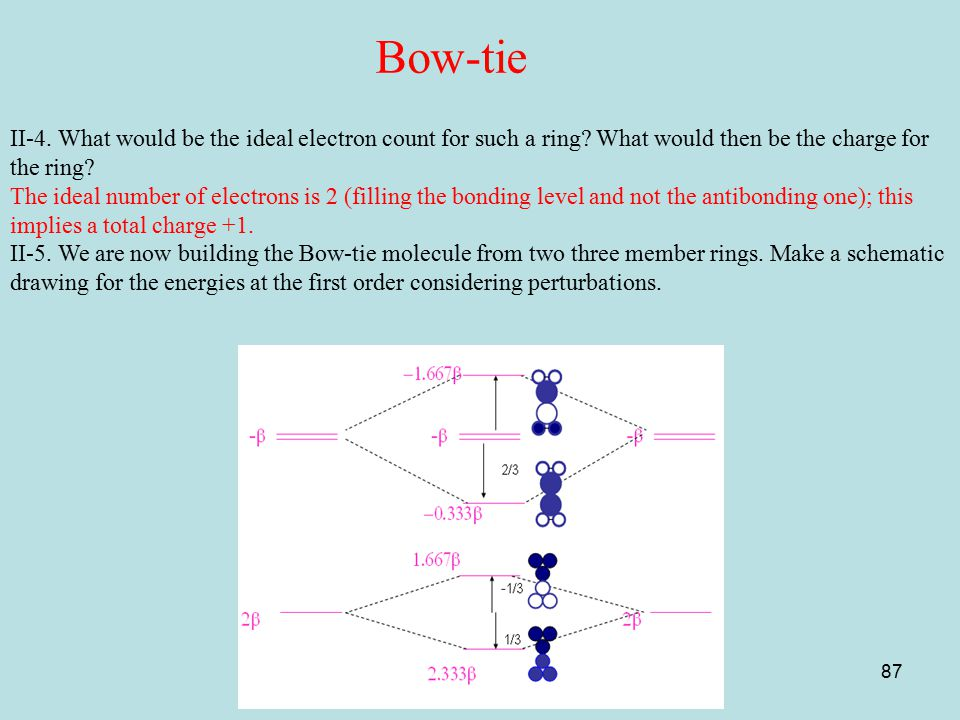 Bow-tie II-4. What would be the ideal electron count for such a ring What would then be the charge for the ring