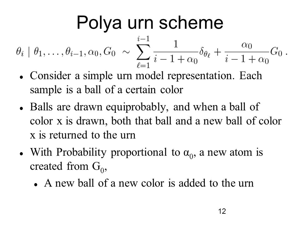 Polya urn scheme Consider a simple urn model representation. Each sample is a ball of a certain color.