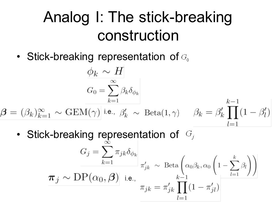 Analog I: The stick-breaking construction