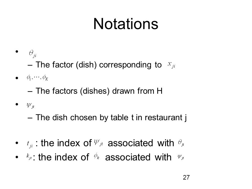 Notations : the index of associated with