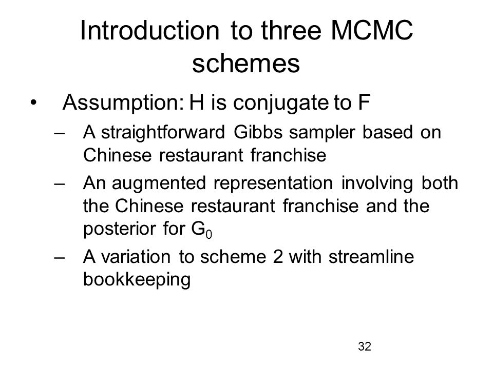 Introduction to three MCMC schemes