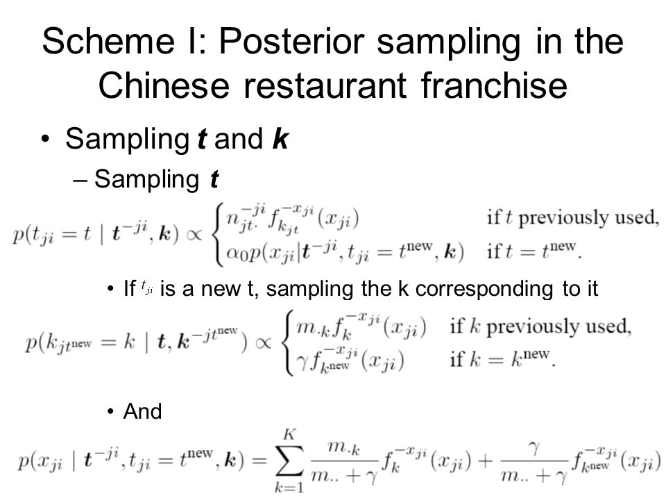 Scheme I: Posterior sampling in the Chinese restaurant franchise