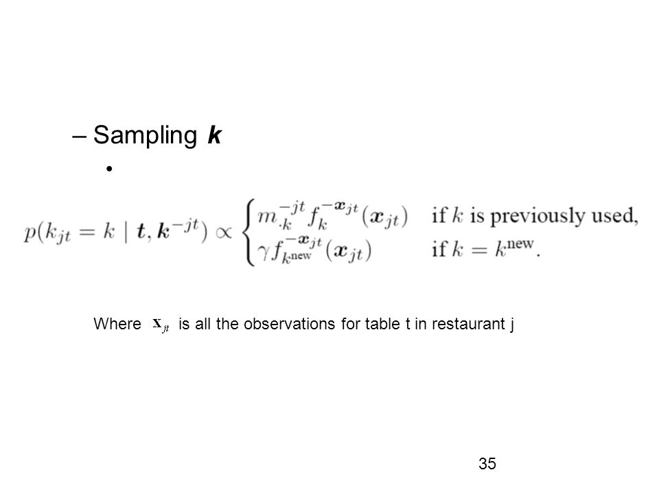 Sampling k Where is all the observations for table t in restaurant j