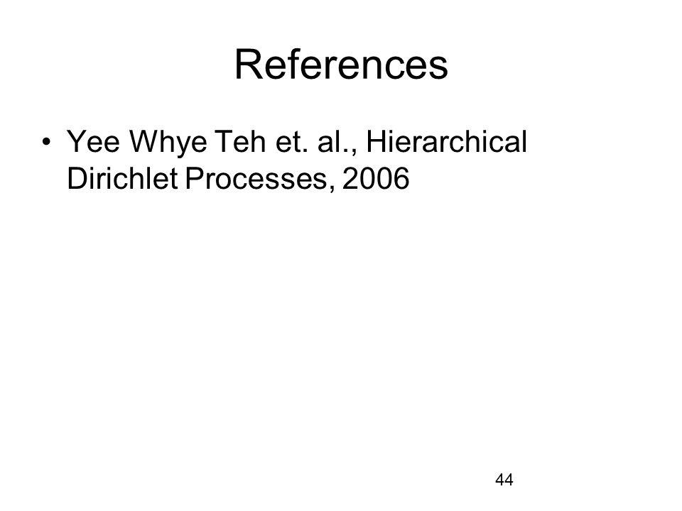References Yee Whye Teh et. al., Hierarchical Dirichlet Processes, 2006