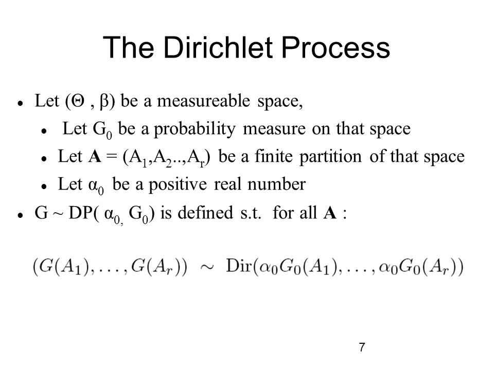 The Dirichlet Process Let (Θ , β) be a measureable space,