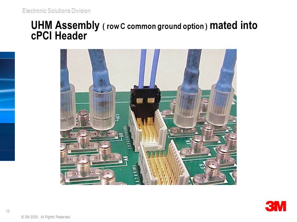UHM Assembly ( row C common ground option ) mated into cPCI Header