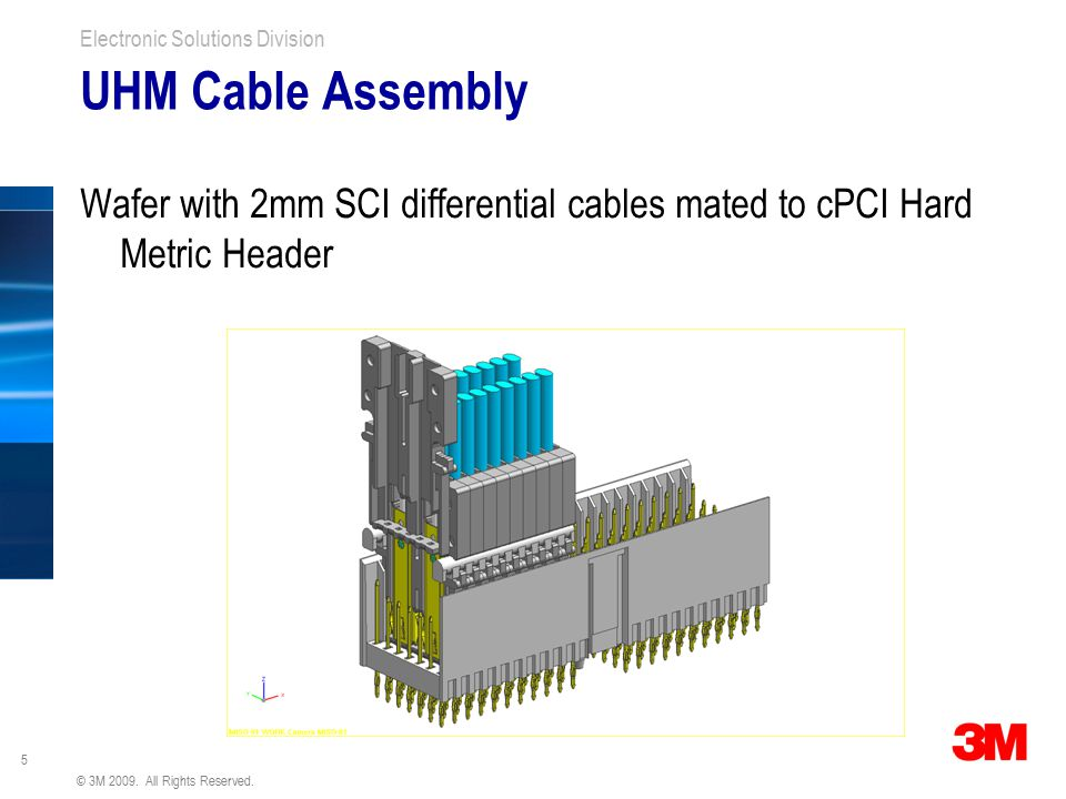 UHM Cable Assembly Wafer with 2mm SCI differential cables mated to cPCI Hard Metric Header.