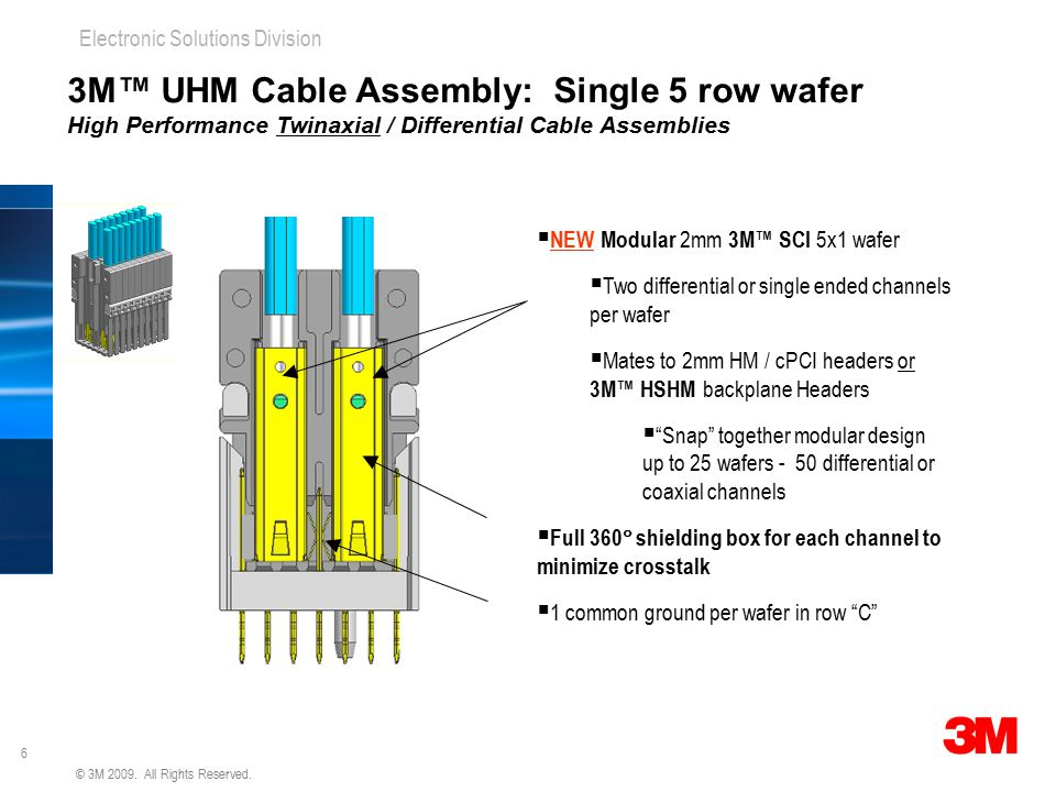3M™ UHM Cable Assembly: Single 5 row wafer