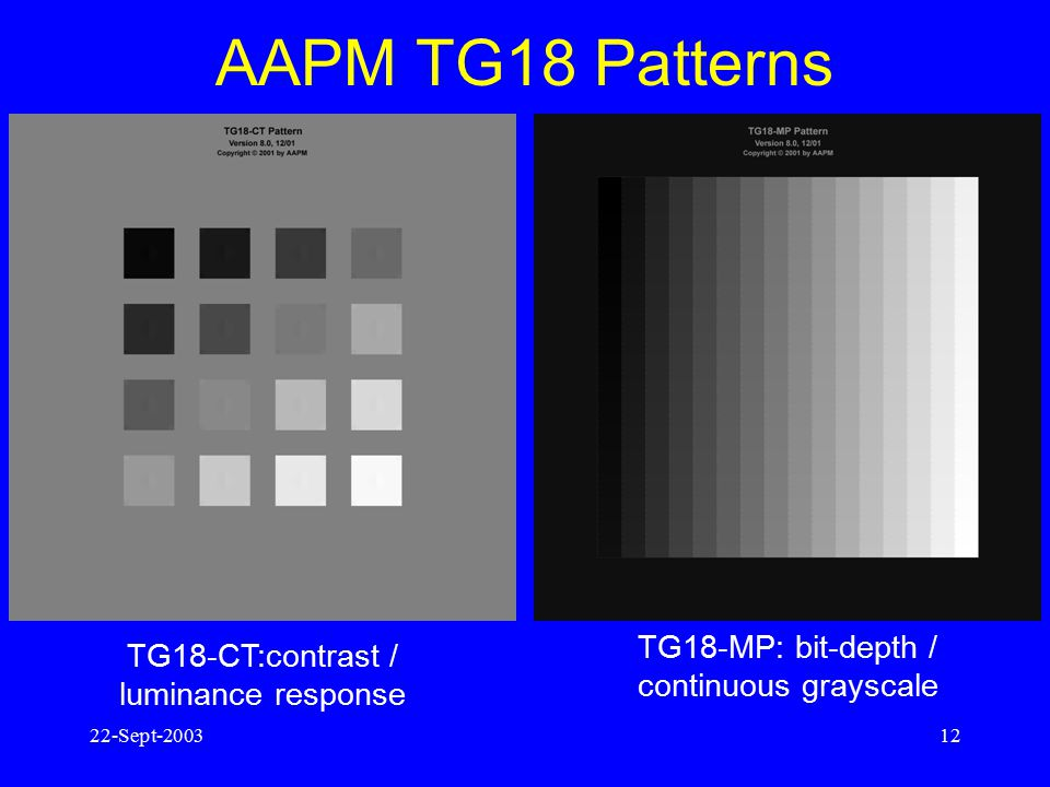 AAPM TG18 Patterns TG18-MP: bit-depth / continuous grayscale